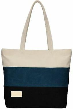 ArcEnCiel Women's Canvas Shoulder Hand Bag Tote Bag Blue&Bla