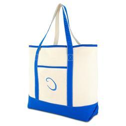 DALIX Women's Canvas Tote Bag Satchel Shoulder Bags Royal Bl