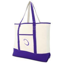 DALIX Women's Canvas Tote Bag Shoulder Bags Open Top Purple