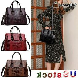 Women's Crocodile Leather Handbag Sling Satchel CrossBody To