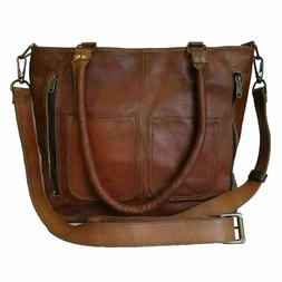 Women's Genuine Brown Leather Shoulder Tote Handbag Purse Sa