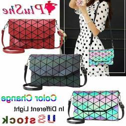 Women's Geometric Luminous Design Handbags Shoulder Satchel