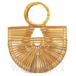 Women's Handmade Bamboo Bag Purse Beach Shoulder Bag Lady La