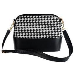 Women's Houndstooth Shoulder Bags Tote Purse Women Girls Mes
