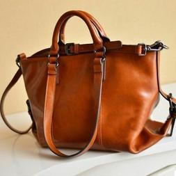 Women's Oiled Leather Shoulder Bag Lady Brown Tote Purse Mes
