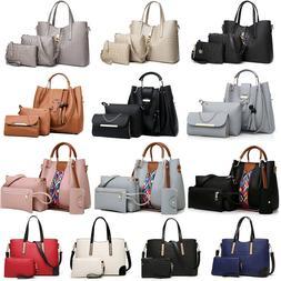 Women's Pu Leather Tote Purse Handbags Set Satchel Shoulder