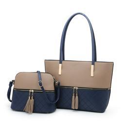 Women's Shoulder Tote Bag & Purse 2-Piece Set Top Handle Mes