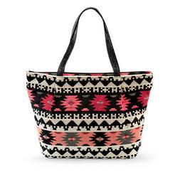 Women's Southwest Aztec Pattern Tapestry Tote Bag, Black, On