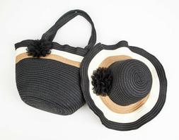 Women's Summer Floppy Straw Sun Hat and Beach Tote Bag Set
