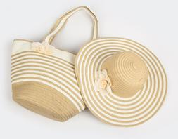 Women's Summer Floppy Straw Sun Hat and Beach Tote Bag Set