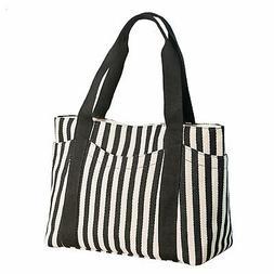 Women's Tote Bag Striped Canvas Shoulder Bags Top Handle Bea
