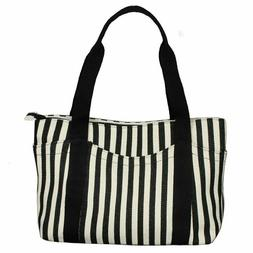 Women's Tote Bag Striped Canvas Shoulder Bags Top Handle Bea