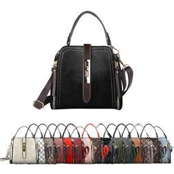 Women Shoulder Bag Satchel Small Checkered Handbag Bucket Pu