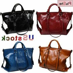 Women Soft Oiled Leather Handbag Messenger Crossbody Satchel