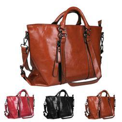 Women Soft Oiled Leather Handbag Messenger Shoulder Tote Bag