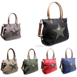 Women Star Print Canvas Fashion Tote Handbag Hobo Shopper Cr