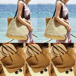 Women Summer Tote Bag Rattan Straw Large Shopping Tote Bohem