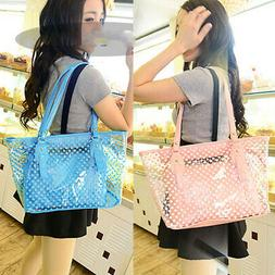 Women PVC Transparent Shoulder Bag Summer Clear Handbag Jell