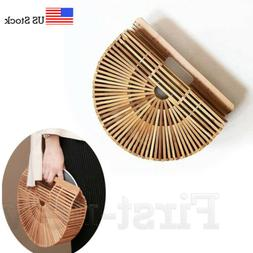 Women's Bamboo Bag Handmade Handbag Ladies Clutch Bag Tote S