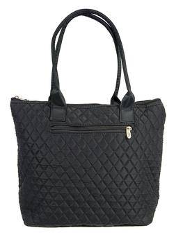 Womens Ladies Quilted Tote Bag 16 inch Cotton Medium Size Bl