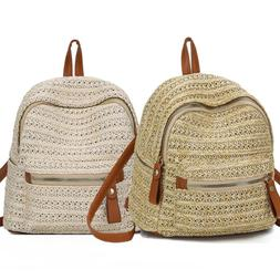 Women's Straw Backpack Anti-Theft Rucksack School Shoulder
