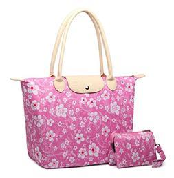 Crest Design Women's Stylish Waterproof Nylon Tote Handbag