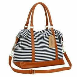 Baosha Womens Women Canvas Travel Weekender Tote Bag Blue Wh