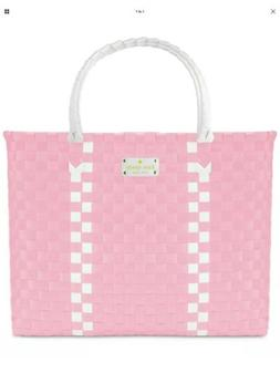 Kate Spade Woven Vinyl Pink & White Large Tote Shopping Beac