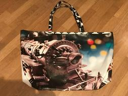 xxl train tote bag recycled in usa
