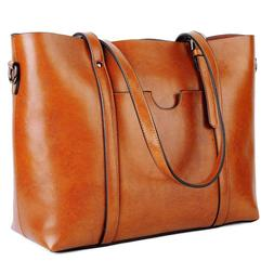 YALUXE Women's Vintage Style Soft Leather Work Tote Large Sh