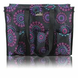 Pursetti Zip-Top Organizing Utility Tote Bag with Multiple E
