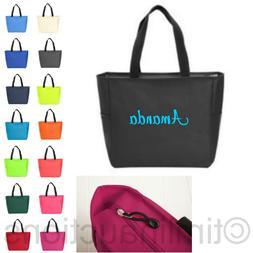 Zip Personalized Monogram Tote Bag Bridesmaid Gift Bride Tea