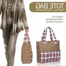 Zip Top Multipurpose Shoulder Tote Bag for Women   Vertical