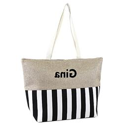 "Large Zipper Top Stripe Print Canvas Beach Bag Tote - 22""x14"